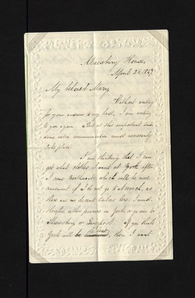 Illustrated writing paper. Fine embossed floral design around border. Double sheet, embossed on front side only.  Three and a half sides are filled with writing beginning 'Maesbury House April 26 1847/ My beloved Mary...' and ends 'Yours alone, Robert Abbott.../ P.S....R.A.'