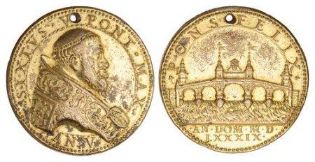 Sixtus V, gilt Medal c.1589 (Spink)